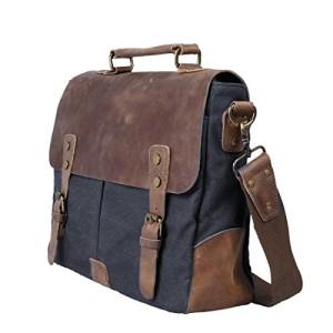 Ecosusi Herren Damen Leder Canvas Tasche Messenger Bags Handtasche Aktentasche Schultertasche Umhängetasche / Weihnachtsgeschenk - Messenger Bag Teil 1