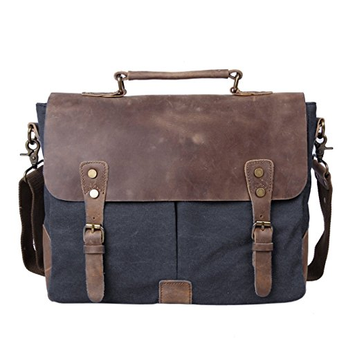 851dbe0227d2d Ecosusi Herren Damen Leder Canvas Tasche Messenger Bags Handtasche  Aktentasche schultertasche Umhängetasche ...