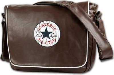 Converse Vintage Patch Messenger Bag Size - open - front braun | Messenger-Bags.info